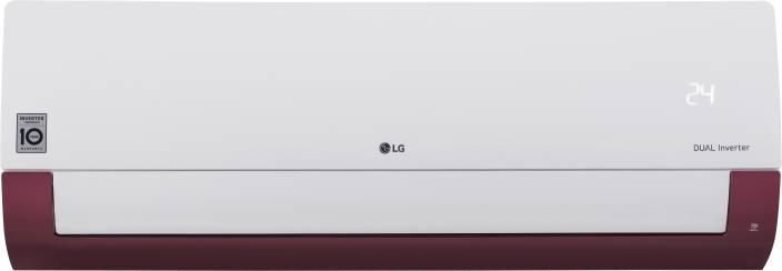 LG 1.0 Ton 5 Star Split Dual Inverter AC - White, Maroon