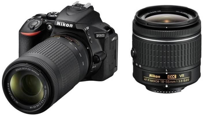 Nikon D5600 DSLR Camera Body with Dual Lens: AF-P DX Nikkor 18 - 55 MM F/3.5-5.6G VR and 70-300 MM F/4.5-6.3G ED VR (16 GB SD Card)